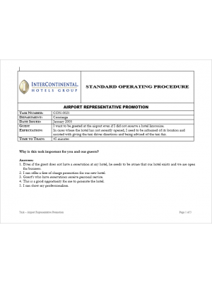 [SOP] Intercontinental Group - Concierge - Airport representative pomotion