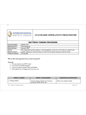 [SOP] Intercontinental Group - Housekeeping Floor - Mattress turning procedure