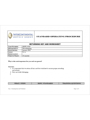 [SOP] Intercontinental Group - Housekeeping Floor - Returning key and worksheet